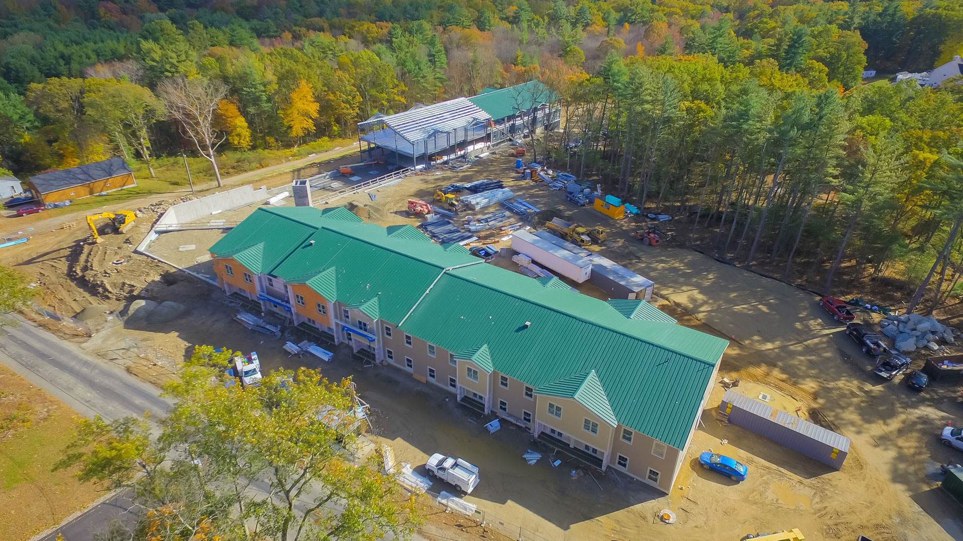 Aerial photo of construction progress at Westview Commons in Dayville, CT