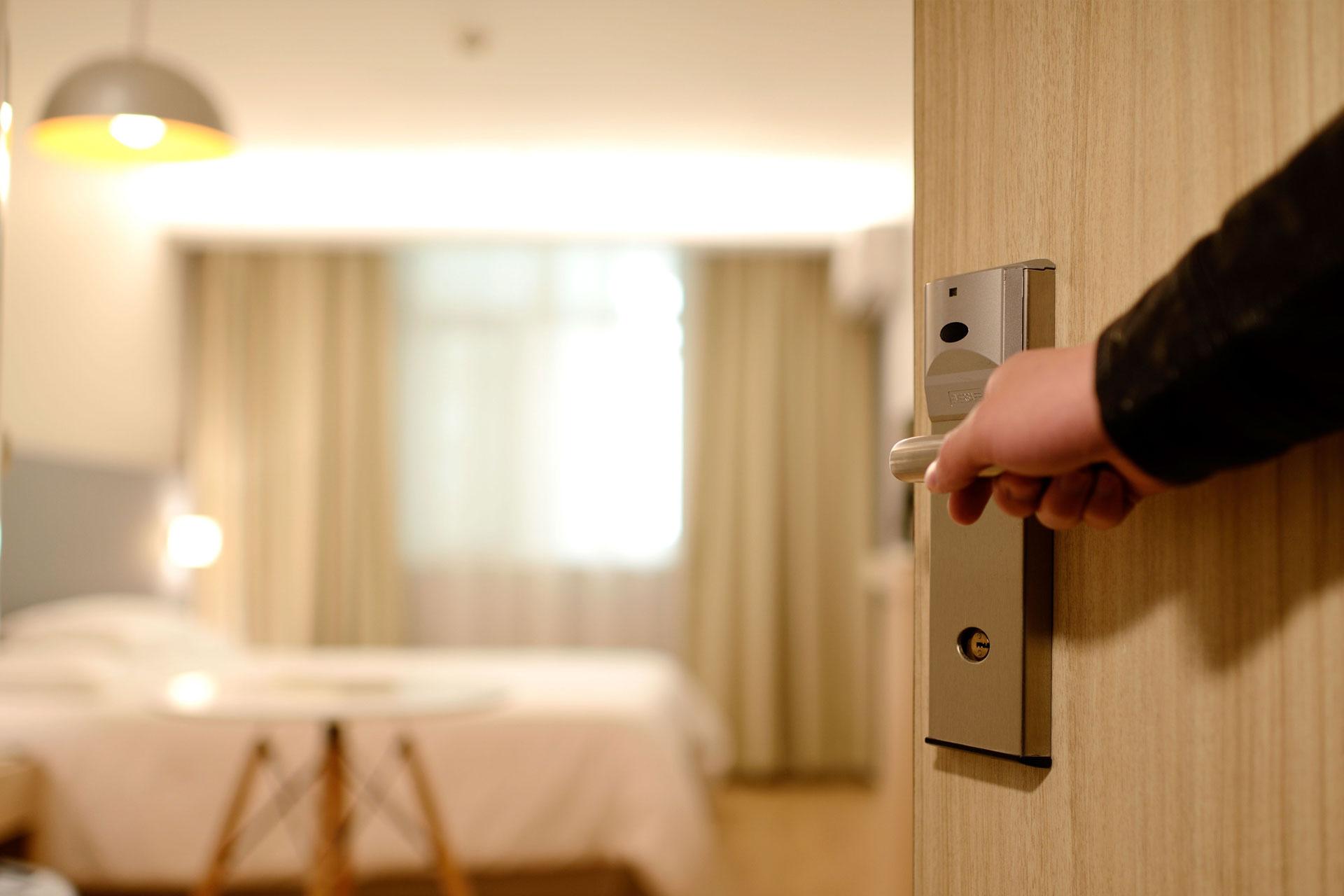 Opening door to room